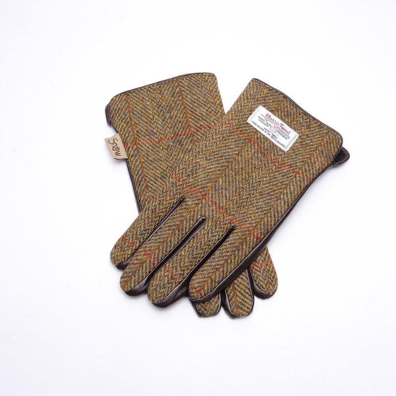 Harris Gants thermiques pour femme en cuir//tweed Motif tartan Taille M
